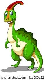 Green dinosaur looking happy illustration