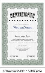 Green Diploma. Money design. Printer friendly. Detailed.
