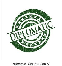 Green Diplomatic grunge seal