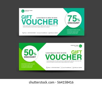 Green Discount Voucher template, coupon design, Gift, ticket, banner template, printing