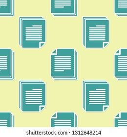 Green Document icon isolated seamless pattern on yellow background. File icon. Checklist icon. Business concept. Vector Illustration