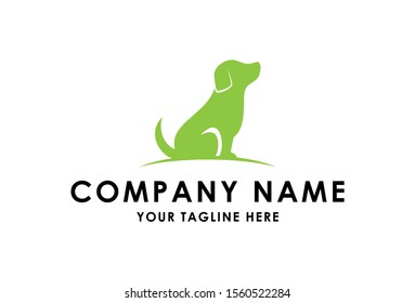 green dog logo design concept