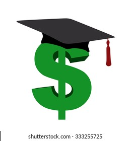green dollar sign with graduation hat