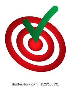 Green done check mark hitting the middle of dartboard. Accomplish, done conceptual symbol, icon, sign in green and red colors.