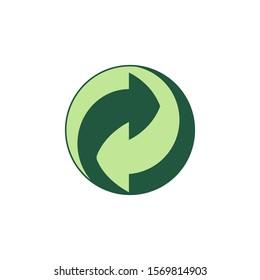 Green Dot symbol. Vector illustration, flat design.