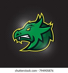 Green dragon head logo for sport club or team. Animal mascot logotype. Vector illustration