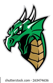 green dragon head mascot