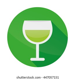 Green Drink In Glass Flat Design