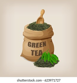 Green dry tea leaves in a sack. Vector illustration