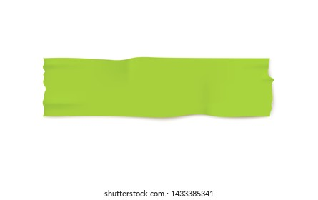 Green duct tape piece with realistic wrinkled texture. Isolated blank sticky adhesive strip line with torn edges, packaging and stationery tool vector illustration