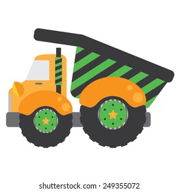 Green Dump Truck | Whimsical yellow construction dump truck with green and charcoal gray stripes and fun stars on the wheels.