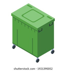 Green dumpster icon. Isometric of green dumpster vector icon for web design isolated on white background