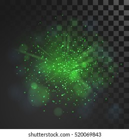 Green dust vector firework explosion. Abstract Holiday Light Rays. Isolated on transparent background. Vector Illustration.