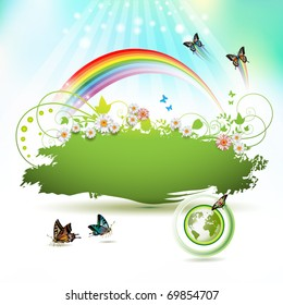 Green Earth background with flowers and butterflies, vector illustration
