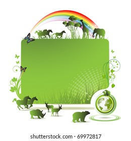 Green earth banner, background with horses and butterflies, vector illustration