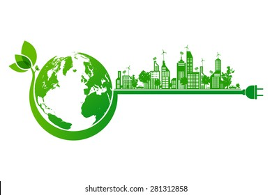 Green earth and city eco concept