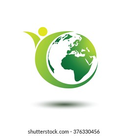 Green earth concept with human,vector illustration