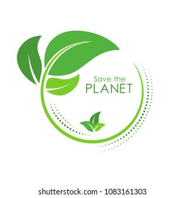 Green earth concept with green leaves. World Environment Day, June 5. Ecology, environment, nature protection concept. Save the planet. Template for banner, poster, leaflet. Vector illustration