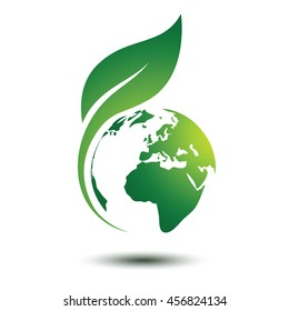 Green earth concept with leaves,vector illustration