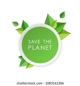 Green earth concept with paper cutout green leaves. World Environment Day, June 5. Ecology, nature protection concept. Save the planet. Template for banner, poster, leaflet. Vector illustration