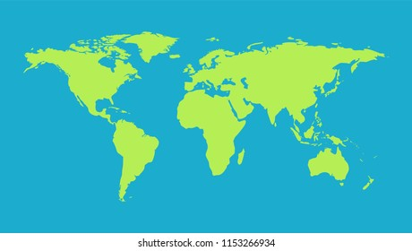 Green Earth continents map background isolated on blue backdrop.
