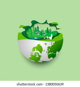Green earth of eco friendly city and urban forest landscape abstract background.Renewable energy for ecology and environment conservation concept paper art design.