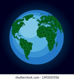 Green earth - eco-friendly concept, eco elements. Plant on planet, leaf from three on globe. Vector concept.