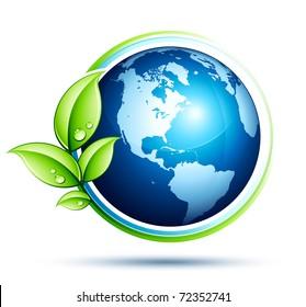 terre verte et feuilles
