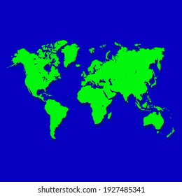 Green earth map on blue background, vector illustration