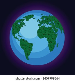 Green earth in space - eco-friendly concept, eco elements. Plant on planet, leaf from three on globe. Vector concept.
