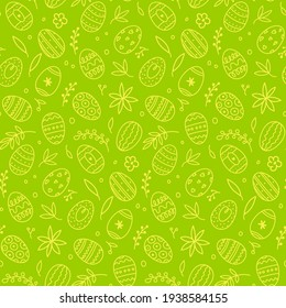 Green easter eggs, leaves and flowers. Seamless festive spring pattern. Happy and positive wrapping or background for your holiday goods.