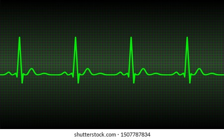 Green ecg heart beat pulse monitor with signal. Vector illustration icon.