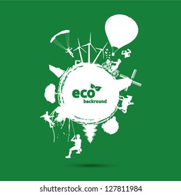 Green eco background with environment symbols on earth