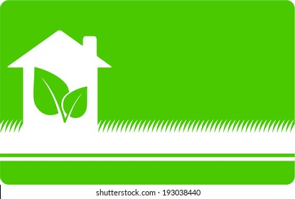 green eco background with house, leaf and place for text