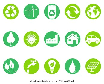 green eco button icons set