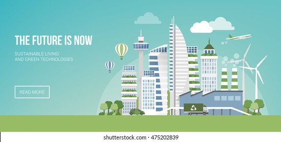 Green eco city banner, alternative energy and ecology concept