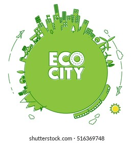 Green eco city with electric cars and green energy power plants in line icon style. Ecology concept illustration.