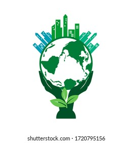 green eco city, the future concept of city, vector illustrations