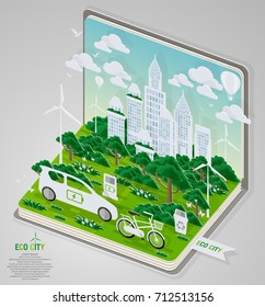 Green eco city and life with book concept. Vector illustration in flat design and isometric paper cut pop-up style.