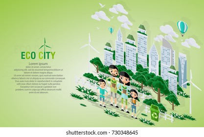 Green eco city and life with pop-up concept. Vector illustration in flat design and isometric paper cut  style.