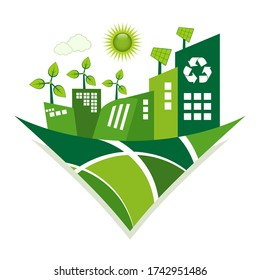 Green Eco City living concept. Solar panels and wind farm generate clean energy.