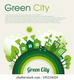 Green Eco city living concept with sample text.