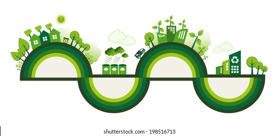 Green Eco city living concept with copy space for your text.