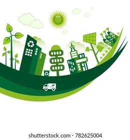 Green Eco city living concept. Copy space for your own text.