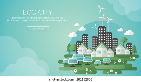 Green eco city and sustainable architecture banner. Vector illustration. Buildings with solar panels and windmills. Save the planet