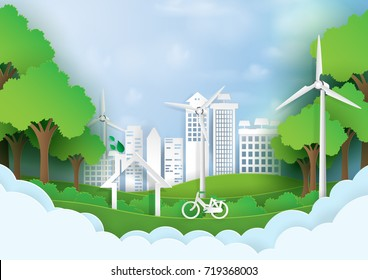 Green eco city.Save the world and environment concept.Urban landscape for green energy paper art style.Vector illustration.