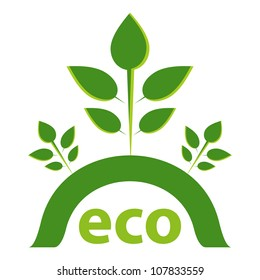 Green ECO concept with seedlings design.
