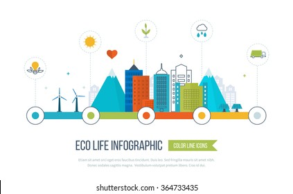 Green eco and eco-friendly city concept. Clean planet, urban landscape and industrial factory buildings concept