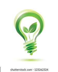 green eco energy concept, plant growing inside the light bulb