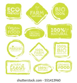 Green Eco Food Labels. Health Headings. Vector Illustration Collection.